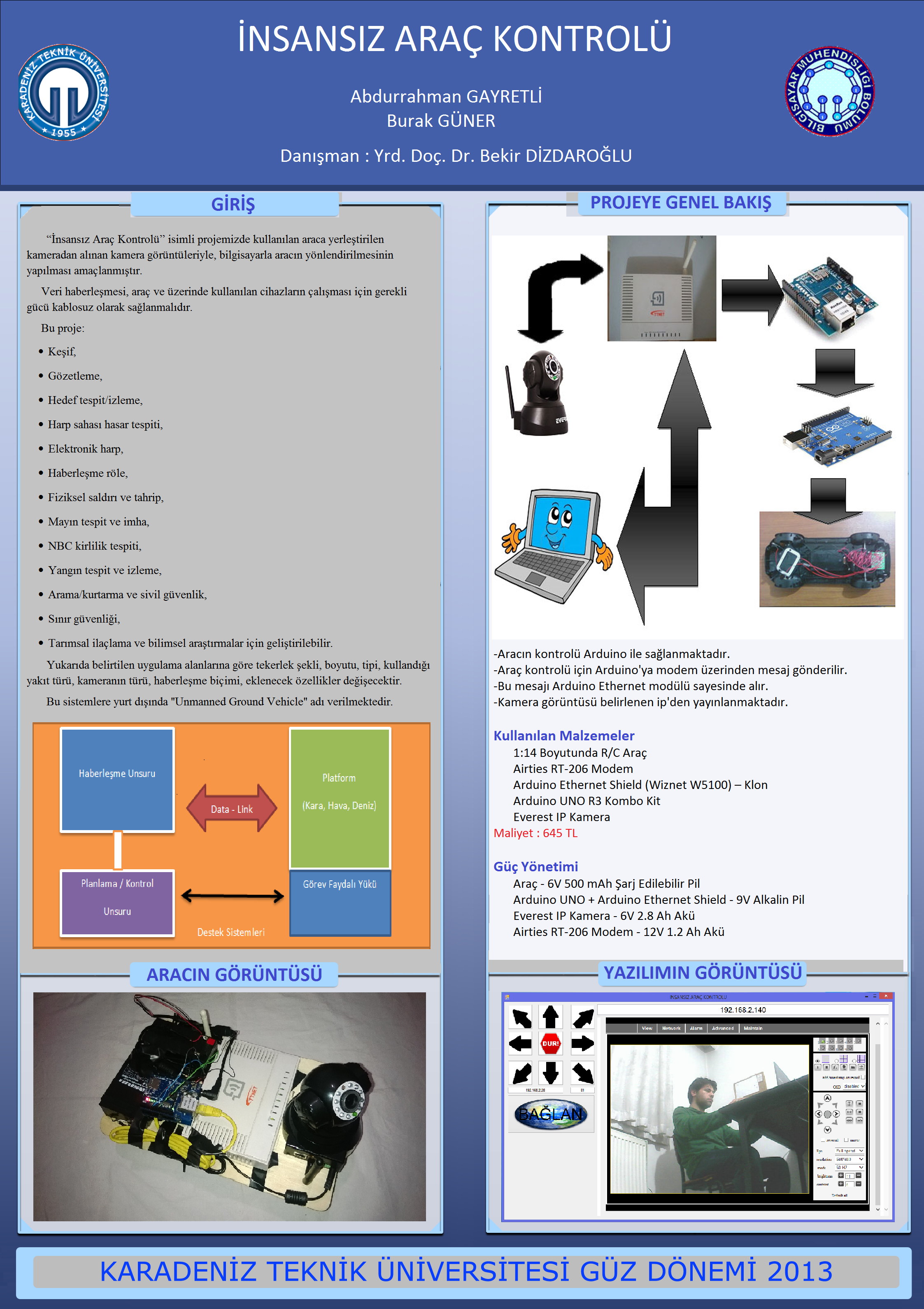 İnsansız Araç Kontrolü Projesi | KTÜ Bilgisayar ...